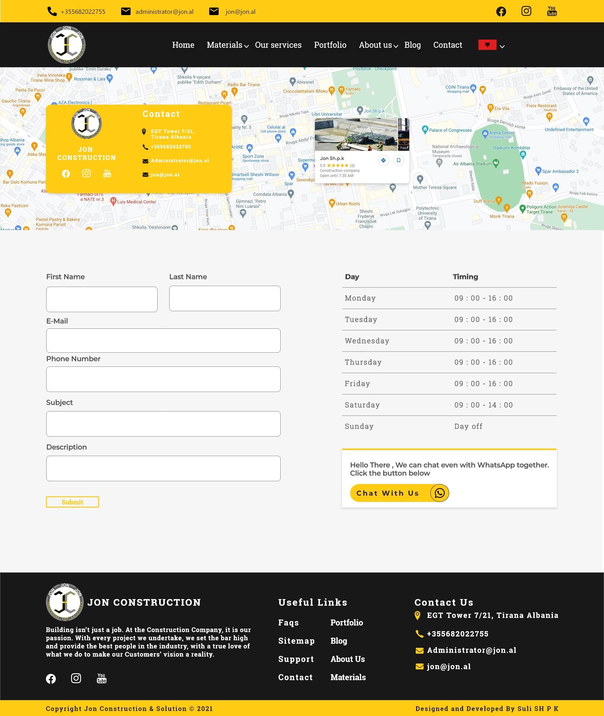 Jon Construction Website Custom